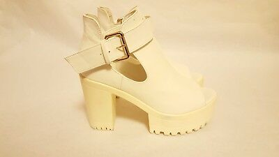 e35edef5cfa Womens Off-White PLATFORM HEELS Shoes by ZM 60s 70s Mod Scooter Style Size  UK