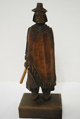"Carved Wooden Asian Man Statue Figure Holding Stick 7 1/8"" Mongolian Chinese"