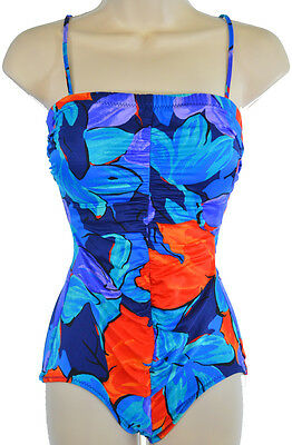 ee152de29bf Vintage Union Made Swimsuit XS S Bathing Suit One Piece Blue Floral Pin Up  USA