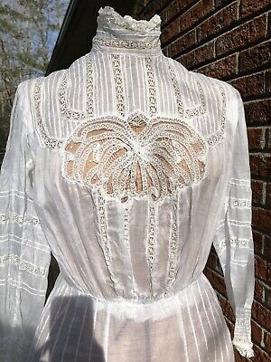 Stunning Antique Victorian White Hand Lace Work Tea Gown c1880's