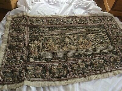 Antique ?Burmese Embroidery Raised Dragons And Dancers Metallic Gold Thread