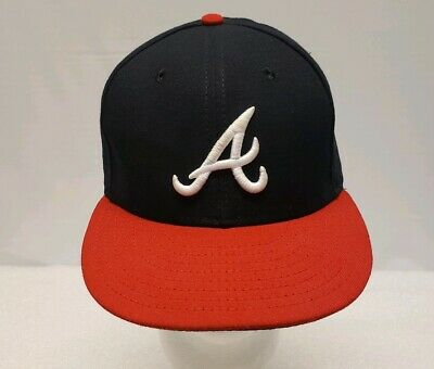 detailed look bee6d 585d5 New Era Atlanta Braves HOME 59Fifty Fitted Hat (Dark Navy Red) MLB Cap