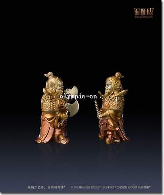 Pair 9''Pure Brass handcraft colored drawing Folk home fengshui door protect God