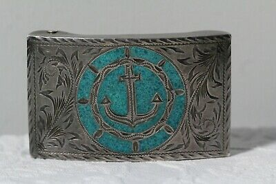 Vintage Mid 20hC Mexican Sterling Turquoise Nautical Anchor Buckle Buckle Signed