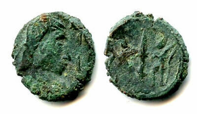 Imitation of a Roman AE3, struck in Sri Lanka, minted 400s CE (GLORIA EXERCITVS)