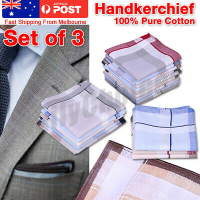 3x Bulk Sale Men 100% Cotton Large Handkerchief Soft Mens Hanky Pocket 38cm
