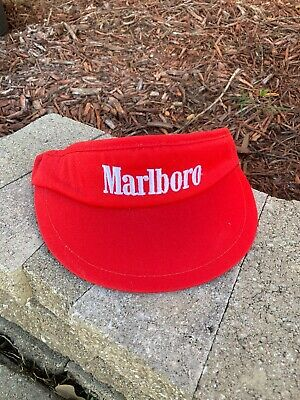 Vintage Marlboro Visor Hat Red Cigarette Made in USA Hat Advertising Merchandise