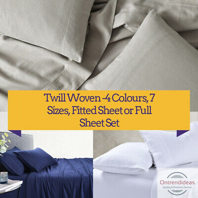 170GSM 100% Cotton Flannelette Sheet Set or Fitted Sheet Set Winter Warm Sheets