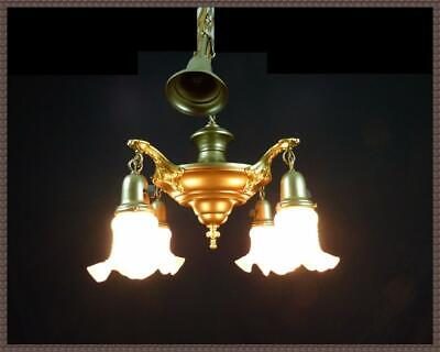 Antique Vintage Brass Art Deco Ceiling Light Fixture Chandelier 1930s LOOK!!
