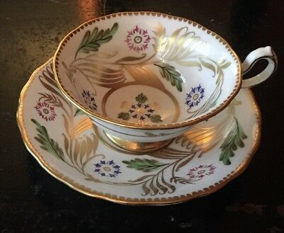 Royal Chelsea~Bone China Tea Cup & Saucer, White W/ Gold & Pink, Blue Flowers
