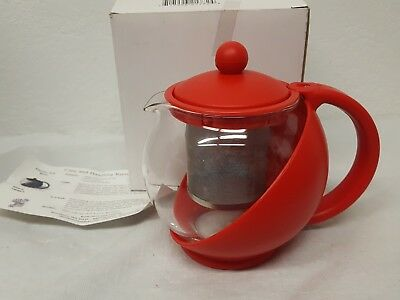 Glass Lined Red Tea Ball Removable Basket Plastic Exterior Service Ideas New