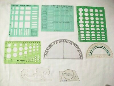Lot Of Vintage Drafting Templates Piping Structural Architectural Hex