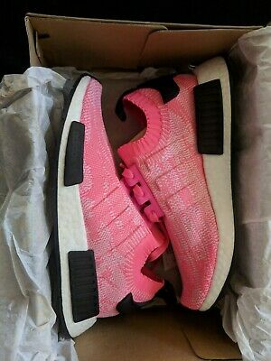a90af9ea74124 Adidas Women s Size 7.5 NMD R1 Primeknit Boost Solar Pink Running Shoes  AQ1104