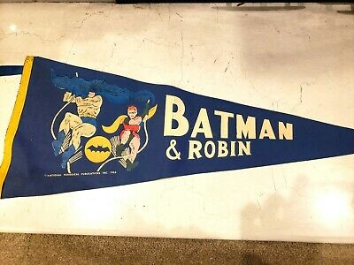 VINTAGE BATMAN & ROBIN COMIC PENNANT 1960'S National Periodicals / DC RARE