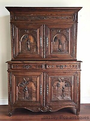 Antique French Sideboard Buffet Oak Breton Heavily Carved c1800's - TM159