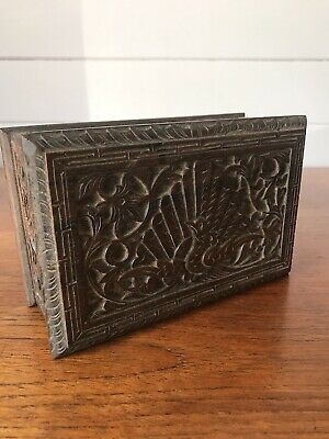 Vintage Carved Wooden Jewellery/Trinket Box Peacock Design