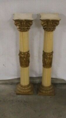 Pedestal Ornate Stands - Cream colour with gold detail-