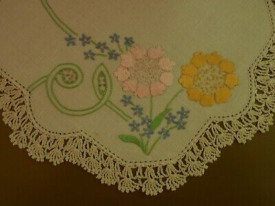 Vintage Doily Hand Embroidered pink yellow blue flowers Crochet Border 22.5 cm
