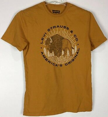 Mens Levis T Shirt Medium Graphic Tee Short Sleeve Crew Cotton Buffalo