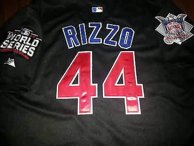83f7b9ec183 NEW 2016 Majestic Chicago Cubs  44 Anthony Rizzo WS patch black Jersey XL  men s