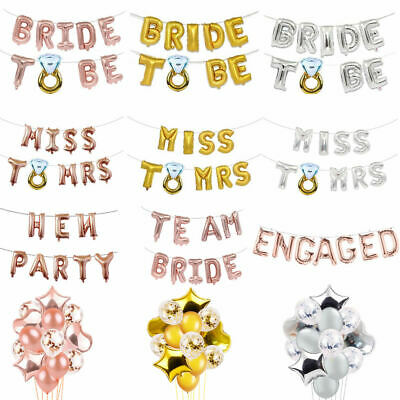 "16"" Team Bride To Be Letter Balloons Foil Diamond Wedding Hen Party Banners"