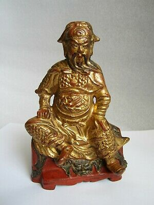 Antique 1500's Chinese Ming Dynasty Bronze Cinnabar Lacquer Gilt Guardian Statue