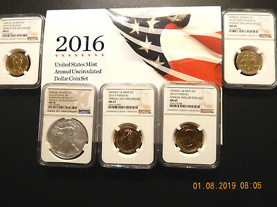 2016 U.s. Mint Annual Uncirculated Dollar Coin Set  - Very High Grade - Ngc-