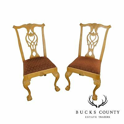 Lexington Solid Pine Chippendale Style Ball & Claw Carved Pair Side Chairs