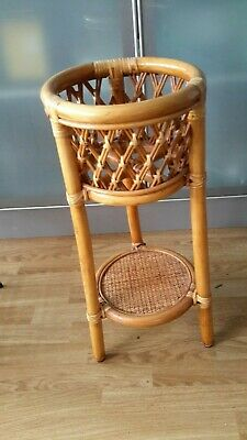 Vintage Retro 70's Bamboo Plant Stand, Wicker Plant Stand,