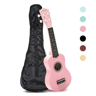21 Inch Ukulele Beginner Mini Guitar Pink Wood Soprano 4 String w/Carry Bag