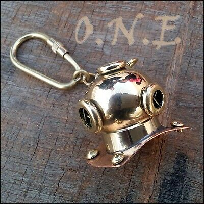 Solid Brass Divers Diving Helmet Keychain Antique Nautical Gift for Navy Diver