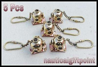 Brass Divers Helmet Keychain Maritime Nautical Keyring Lot of 5 Pcs Diving helmt