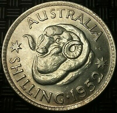 1952 KGV1 shilling. Great coin. Natural lustre. High grade. #581