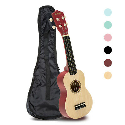 21 Inch Ukulele Beginner MiniGuitar Wood Soprano Instrument 4 String w/Carry Bag