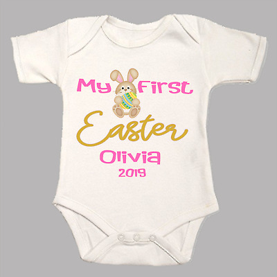 Personalised My First 1st Easter Bunny Baby Grow Body Suit Vest Pink Blue Named