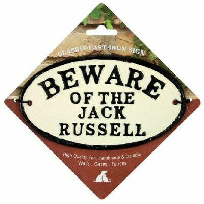 Gate Door Sign Beware of the Jack Russell Cast Iron Oval Sign