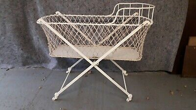 Antique Victorian Cast Iron Child's Cot bedwith Moses basket