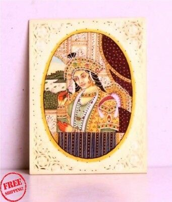 Old Art Hand Crafted Bone Jali Cutting Frame Hand Painted Beautiful Queen 4640