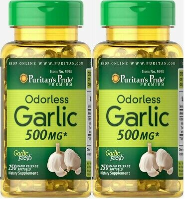 2X Odorless Garlic 500 mg x 250 (500) Rapid Release Softgels - 24HR DISPATCH