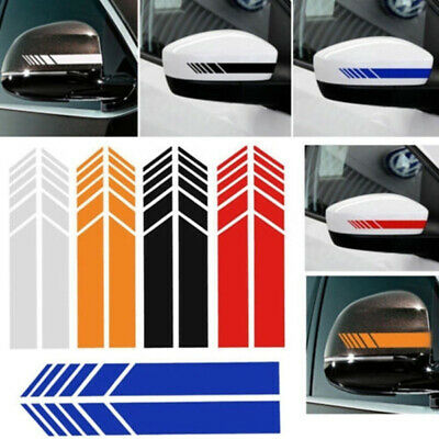 Universal 2Pcs Car Rear view Mirror Sticker Racing Reflective Decal Emblem Decor