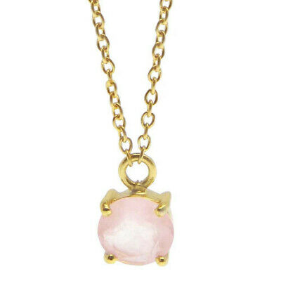 """Rose Quartz Round 925 Sterling Silver 18 """" Link Chain Prong Set Necklace MG-6264"""