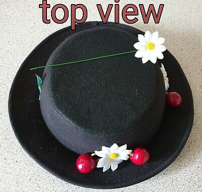 CHILDS size Mary poppins inspired Hat ..felt .faux cherries & daisies