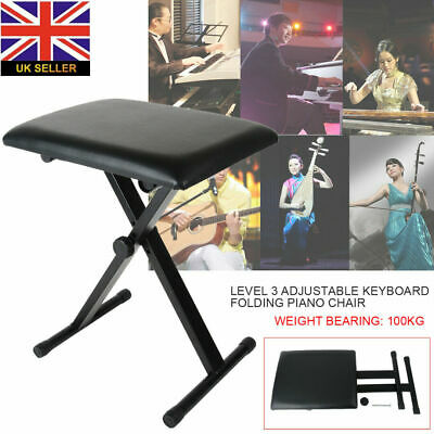 Adjustable Height 3 Way Portable Piano Keyboard Stool Folding Chair Bench Black
