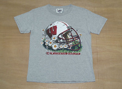 Vtg 90's Wisconsin Badgers NCAA College T-Shirt - Size Youth M or Womens 6