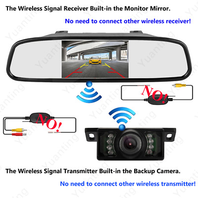 4.3 Inch Car Rear View Monitor Screen Camera Built-in Wireless Kit For Parking