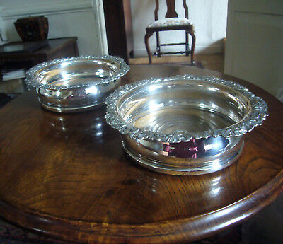 Pair 19th cent. silver plate on copper bottle coasters