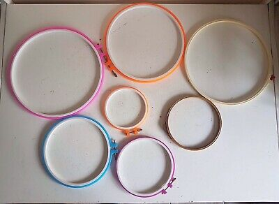 7 x Plastic Hoops Cross Stitch Embroidery Ring Frame Sewing Craft DIY Tool