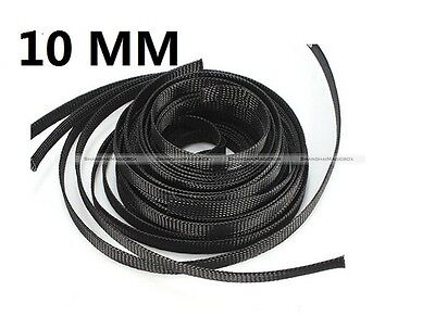 10M 4/8/10/16/25mm Black Braided Cable Sleeving Sheathing Auto Wire Harnessing