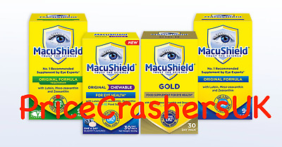 Macushield Capsules Original Vegetarian or Gold Pack of 30 or 90 Food Supplement