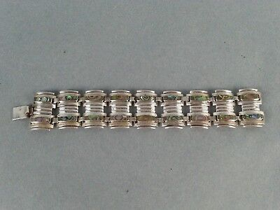 Unique Link Vintage Sterling Silver Mexico Abalone Shell Bracelet